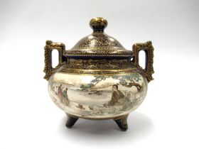 A late 19th Century Japanese Satsuma earthenware two handled,