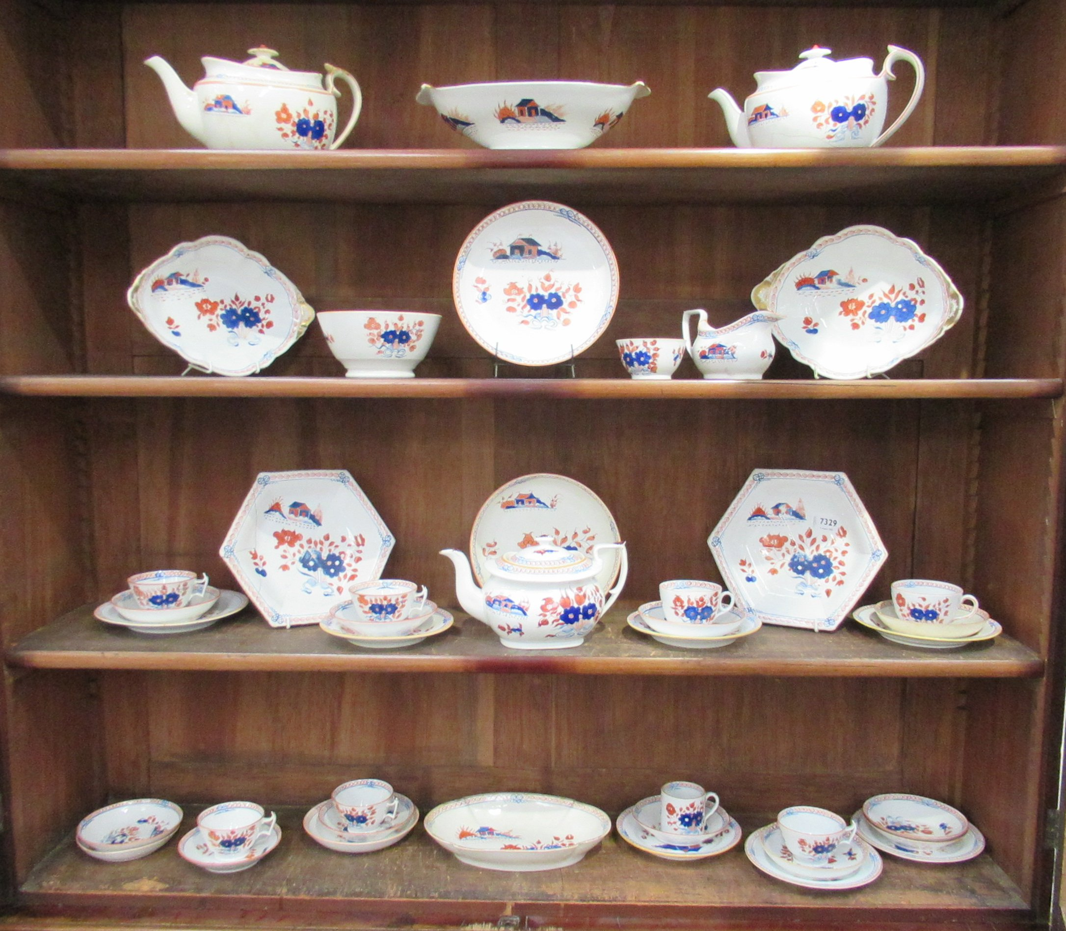 A quantity of New Hall Doll's House pattern tablewares and teawares pattern No.