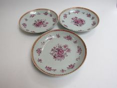 In the style of New Hall, three late 18th Century dishes with puce floral design,