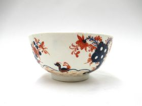 "A Lowestoft porcelain polychrome ""Redgrave Two Bird"" pattern sugar bowl. 11cm diameter."