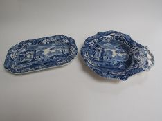 """Two blue and white Copeland Spode dishes """"Italian pattern"""""""
