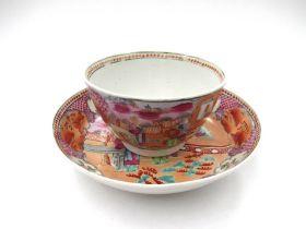 A Newhall polychrome tea bowl and saucer