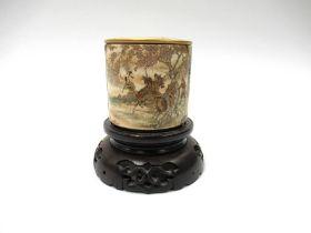 A late 19th Century Japanese Satsuma earthenware cylindrical jar and flat lid by Subei Kinkozan of