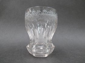 """A mid 19th Century finely engraved Bohemian clear glass """"Spa"""" tumbler, c."""