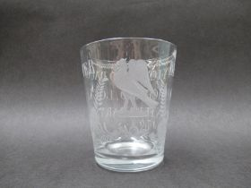 """A mid 18th Century finely engraved clear glass commemorative tumbler, inscribed """"Betty Lovibond,"""