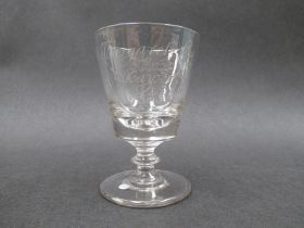 An early - mid 19th Century commemorative wine rummer with bucket shaped bowl,