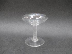 A small 18th Century lead glass pedestal lace maker's lamp,