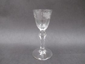 A late 18th Century wine glass,