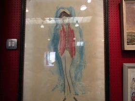An abstract watercolour portrait of gentleman in red jacket,