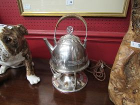 An Art Deco kettle on burner stand,