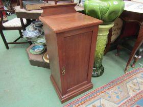 A circa 1900 satin walnut single door bedside cabinet,