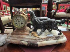 A French clock, with unmarked 8-day movement, strikes on bell, two hunting dogs with birds.