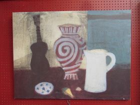 A modernist print on canvas depicting still life of violin, jug and vase, 60cm x 80cm approx.