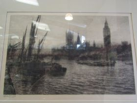 A circa early 20th Century framed and glazed etching depicting Westminster bridge and Palace seen