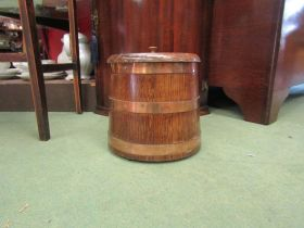 A mid Century oak coppered biscuit barrel