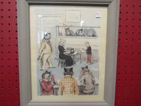 """A Louis Wain print """"The General Office"""", framed and glazed,"""