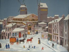 After Michel Delacroix, a lithograph print on Arches paper depicting a French snowy street scene,