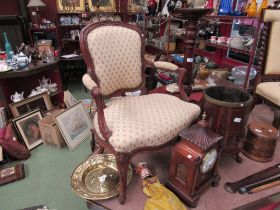 Two Victorian chairs including an open armchair to carved cabriole legs
