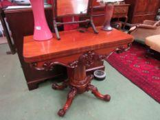A William IV flame mahogany card table,