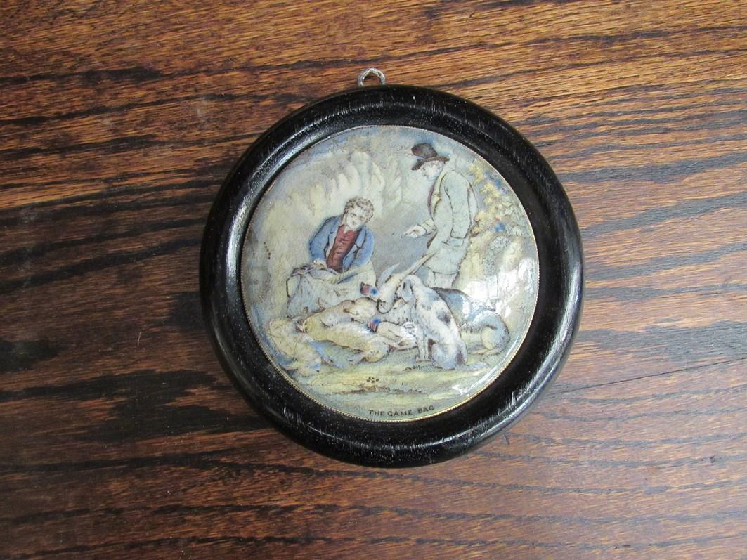 A Prattware framed pot lid 'The Game Bag',