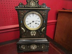 """An inlaid French Boulle clock, movement marked """"Medaille D'Argent Japy Fils 1844-1849"""" No."""