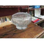 A large crystal glass rose bowl,