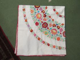 """Hungarian hand embroidered square tablecloth, 50"""" x 50"""", multicoloured,"""