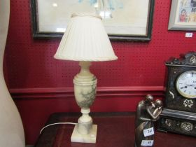 A cream alabaster urn form table lamp with a cream pleated shade, 48cm tall approx.
