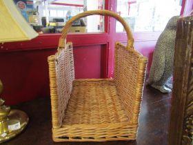 A wicker log basket
