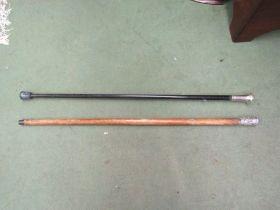 Two walking canes, one ebonised,