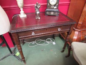 A mid Victorian oak writing desk the tooled leather inset over a single frieze drawer with key on