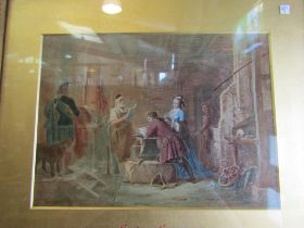 """A Victorian part painted print """"Gretna Green blacksmith wedding"""" in ornate frame,"""