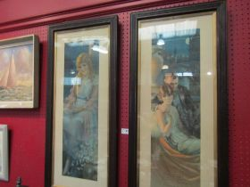 A pair of Victorian prints, young maiden and Honeymooning in Venice,