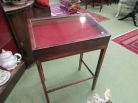 A 19th Century rosewood sloped display case on stretcher base,