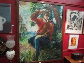 GEOFF SELWAY (XX): An oil on canvas of impressionistic self portrait, framed,