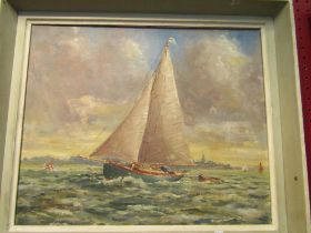 An oil on board depicting sailing yacht on choppy waters, indistinctly signed lower right, framed,