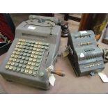 Two vintage adding machines