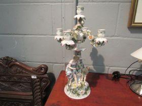A pair of 19th Century Sitzendorf porcelain five sconce candelabra,