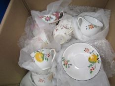 """A box of mixed crockery including Crown and Royal Albert """"Lady Carlyle"""" cups and saucers,"""