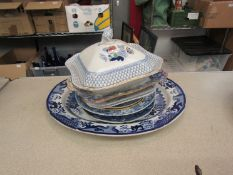 Mostly mixed 19th Century blue and white dinner wares including meat plate,