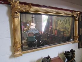 A Regency carved giltwood overmantel mirror, a/f,