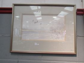 JASON PARTNER: A watercolour of ducks in flight, signed lower right, framed and glazed,