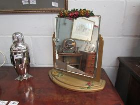 A 1920's bevel edged dressing table mirror, slight damage,
