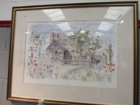 MAZ JACKSON (Local artist - East Harling): A watercolour of barn in overgrown setting,