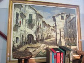 An oil on canvas of Old Marbella town, signed lower right,