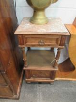 A French walnut pot cupboard with marble top,