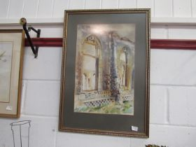 WITHDRAWN - MOYA COZENS (1920-1970): Ruined Church windows, watercolour, framed and glazed,
