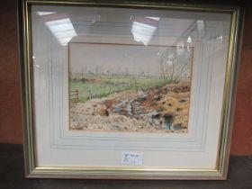 MIKE WEBB (XX-XXI): A watercolour of muddy farm track during winter, 15cm x 20.