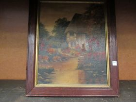 An image on board depicting a thatched cottage by a river, dated 1944 verso,