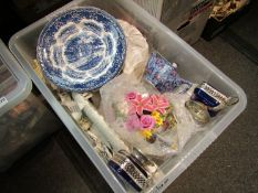 A box of mixed ceramics and glassware including posy and Royal Winton etc.